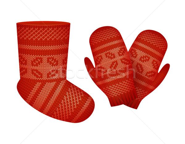 Vecteur tricoté chaussettes mitaines décoré Photo stock © kostins
