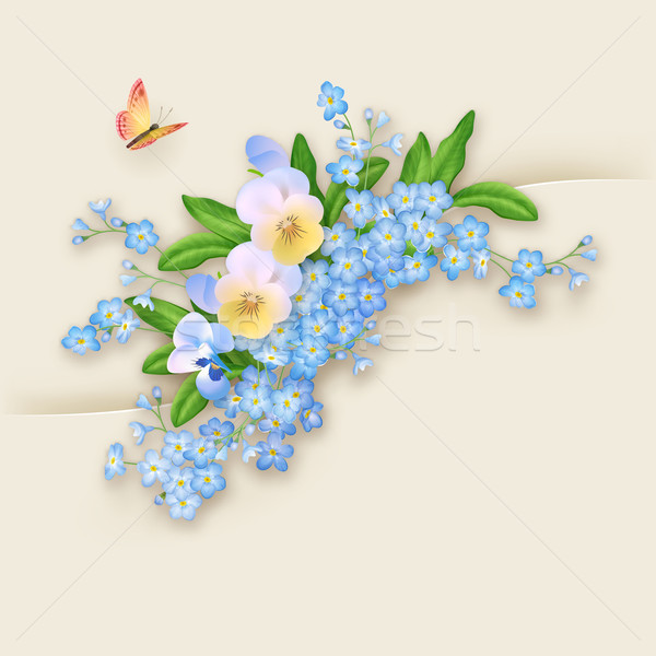 Flowers Forget-me-not Greeting Card Stock photo © kostins