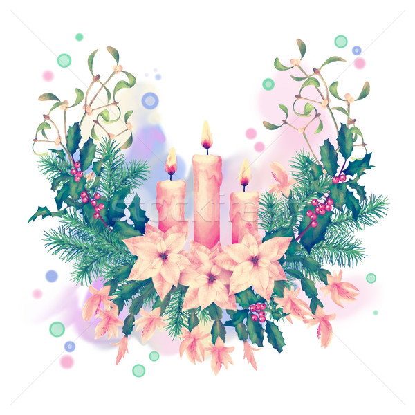 Merry Christmas Watercolor Drawing Stock photo © kostins