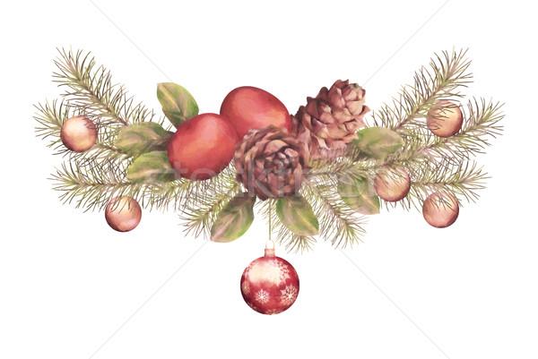 Noël couleur pour aquarelle guirlande vacances ornements blanche Photo stock © kostins