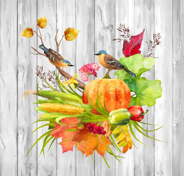 Watercolor Autumn Thanksgiving Composition Stock photo © kostins