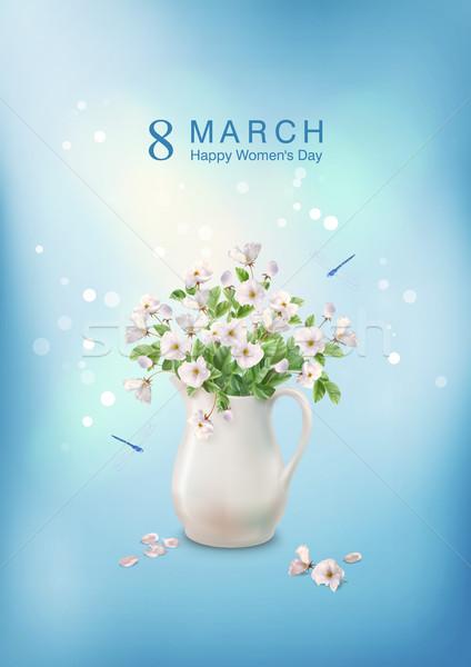 çiçekler seramik sürahi mutlu tebrik kartı Stok fotoğraf © kostins