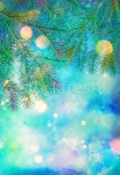 Vacances arbre de noël artistique couleur pour aquarelle peinture texture Photo stock © kostins
