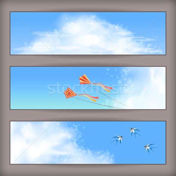 Sky banners: white clouds, flying kites, swallows Stock photo © kostins