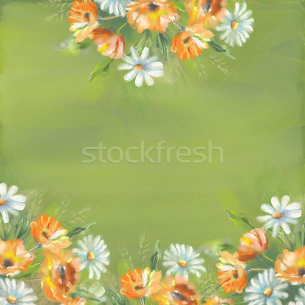 Aquarela pintado flores ilustração fronteira original Foto stock © kostins