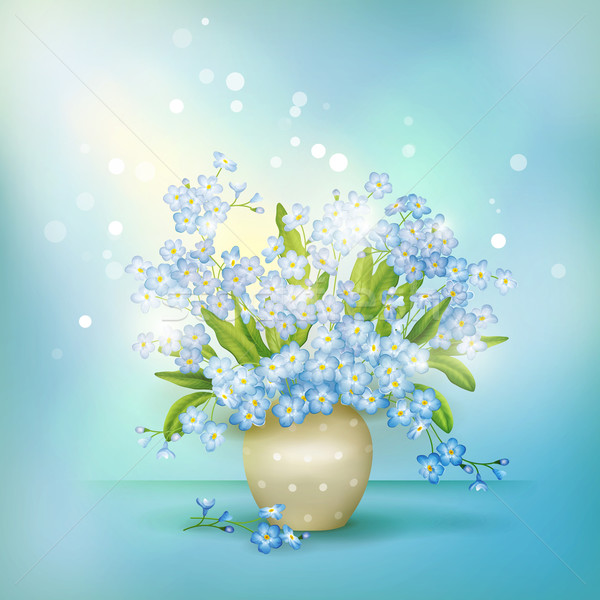 Spring blue flowers forget-me-nots in vase vector Stock photo © kostins