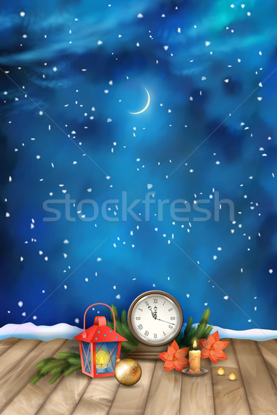 Christmas Night Watercolor Background Stock photo © kostins