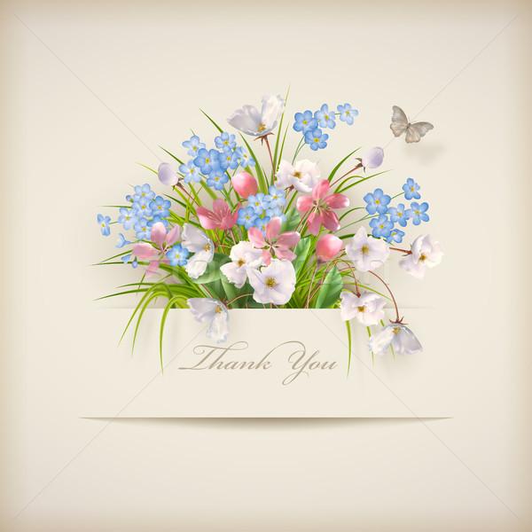 Grazie carta floreale diverso fiori carta Foto d'archivio © kostins