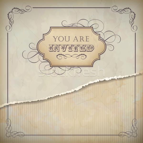 Vintage invitation design with label, text and frame Stock photo © kostins