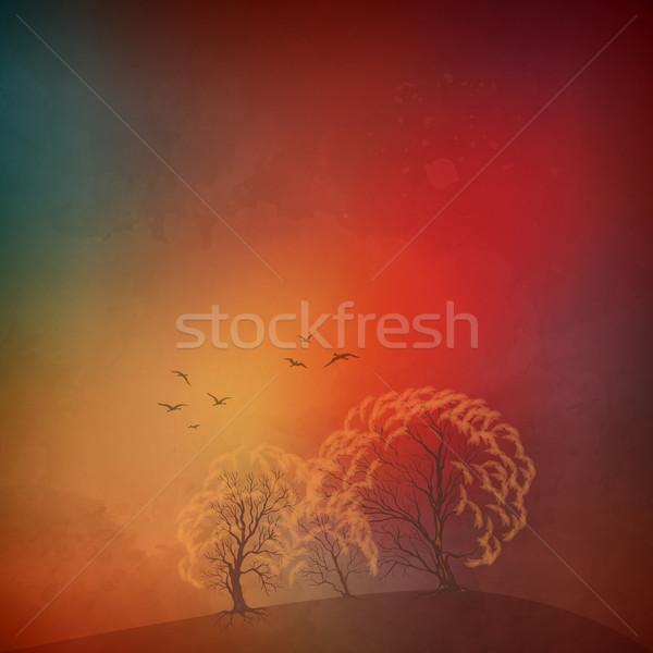 Vector autumn landscape Stock photo © kostins