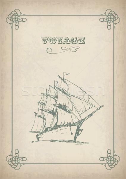 Vintage sailboat retro border drawing on old paper Stock photo © kostins
