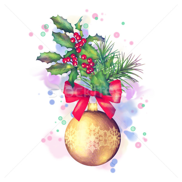 Watercolor Painting Christmas Decorations Stock photo © kostins