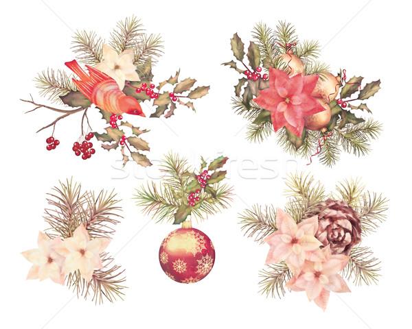 Christmas Watercolor Set Stock photo © kostins