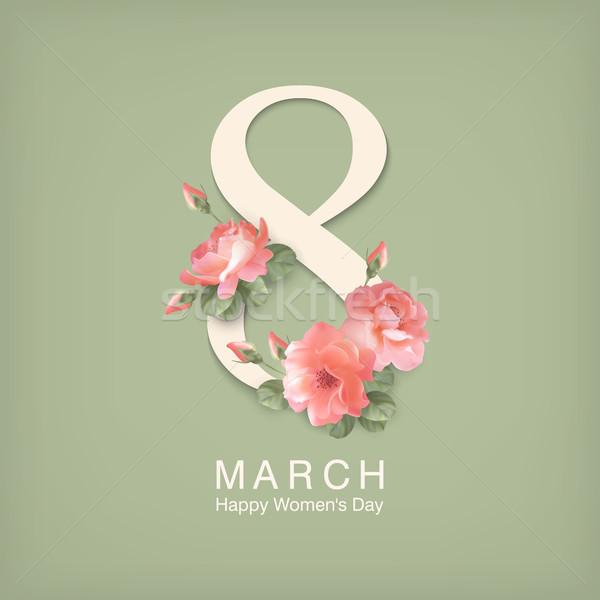 Mujeres día tarjeta de felicitación feliz postal texto Foto stock © kostins