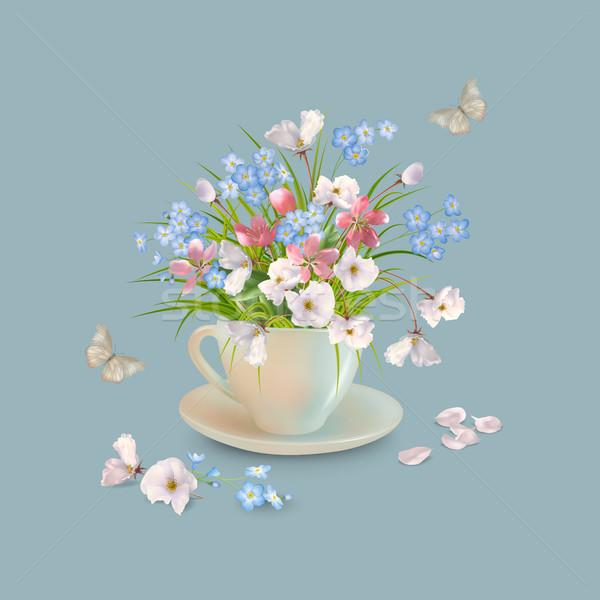 Ot çiçekler fincan bahar yaz buket Stok fotoğraf © kostins