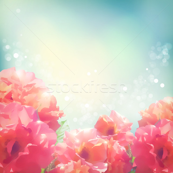Shining flowers roses (peonies) background Stock photo © kostins