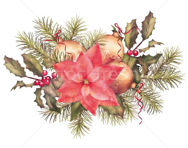 Acquerello pittura Natale decorazioni capodanno colorato Foto d'archivio © kostins