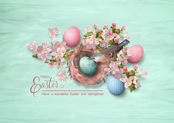 イースター 鳥の巣 ベクトル 春の花 描いた ストックフォト © kostins