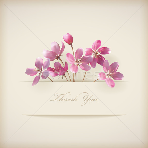 Floral spring vector 'Thank you' pink flowers card Stock photo © kostins