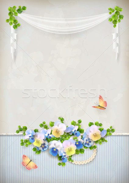 Shabby chic romantic flower vintage background Stock photo © kostins