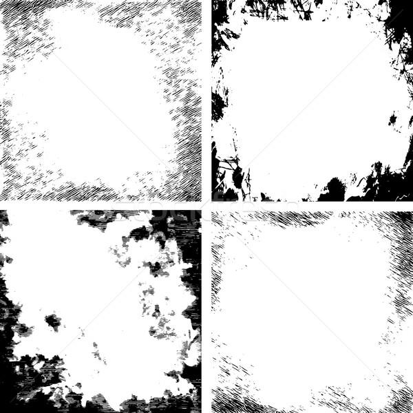Vector abstract grunge gebarsten textuur zwart wit Stockfoto © kostins