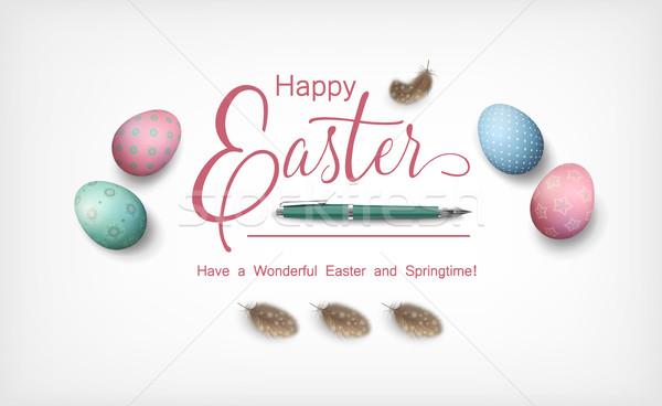 Stock fotó: Kellemes · húsvétot · dekoratív · tojások · fogantyú · tollak · fehér