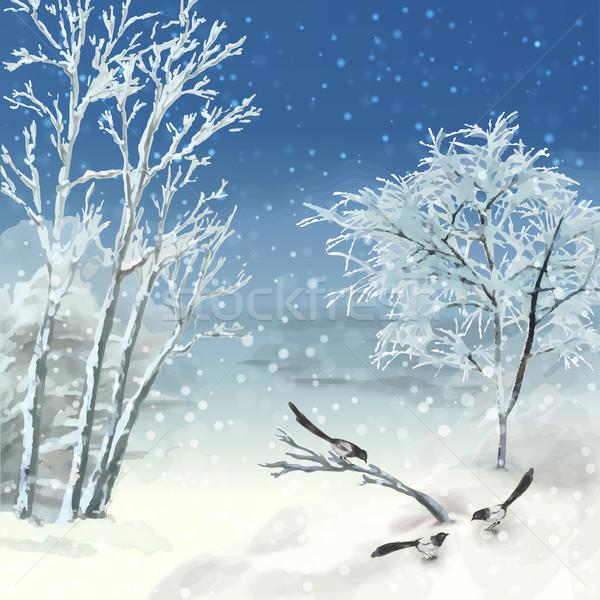 Kış Vektör Suluboya Manzara Artistik Boyama Vektör