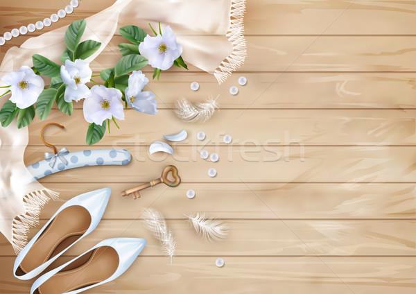Stok fotoğraf: Düğün · üst · görmek · beyaz · çiçekler · ayakkabı