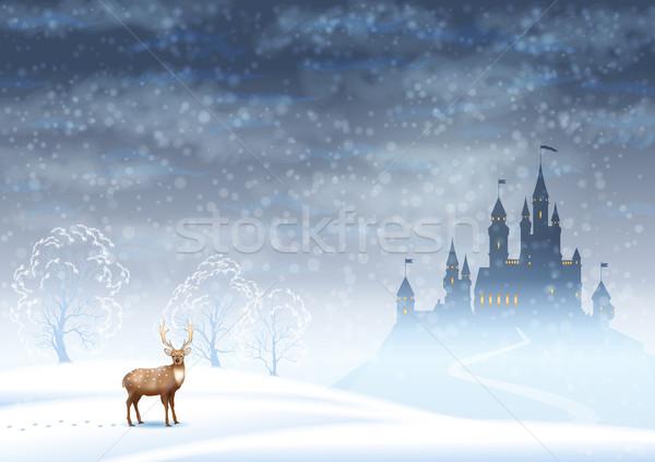 Noel manzara kış kale vektör siluet Stok fotoğraf © kostins
