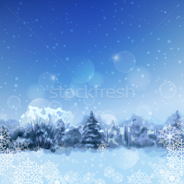 Vector Watercolor Snowy Forest Stock photo © kostins