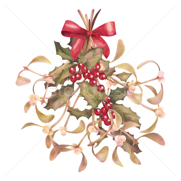 Watercolor Christmas Mistletoe and Holly Bouquet Stock photo © kostins