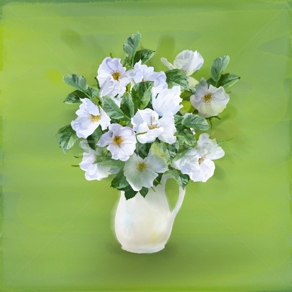 Fiori bouquet vaso vetro acquerello pittura Foto d'archivio © kostins