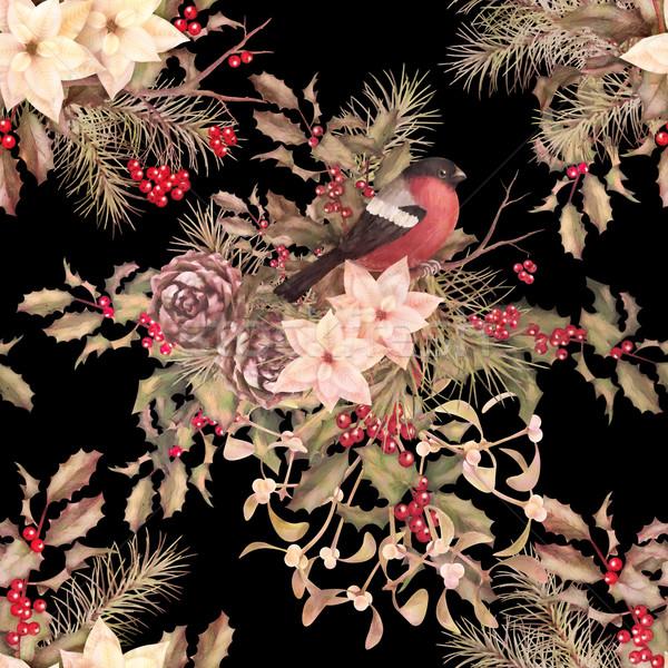 Рождества ретро птица цветы цветок Сток-фото © kostins
