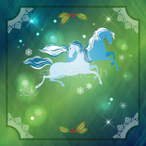 Stock photo: Christmas Horses on Abstract Night Background