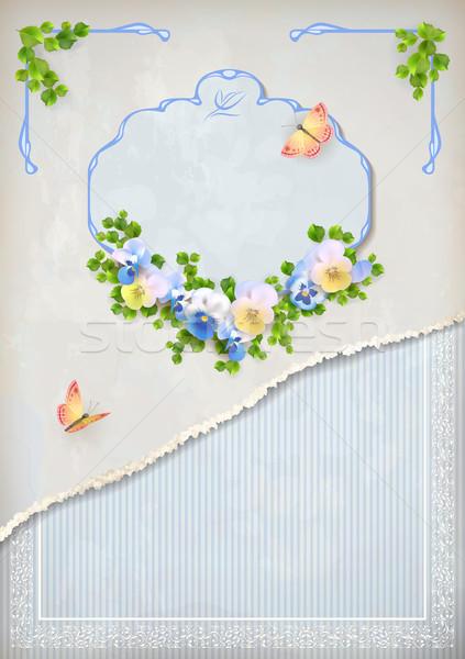 みすぼらしい シック ヴィンテージ 結婚式 フローラル 招待 ストックフォト © kostins