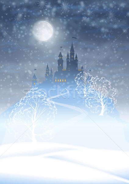 Christmas Winter Castle Moonlight Sky Stock photo © kostins