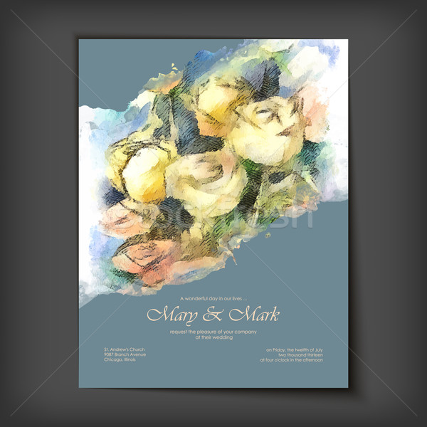 Vector Watercolor Roses Wedding Invitation Stock photo © kostins