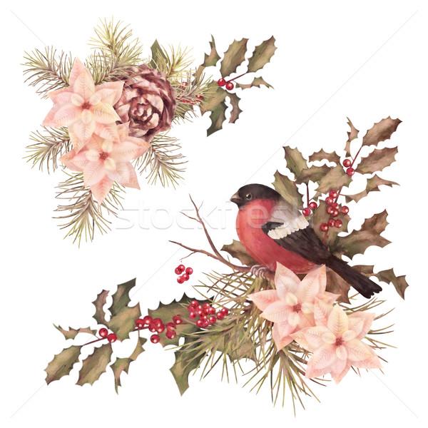 Christmas retro watercolor decorative composition Stock photo © kostins