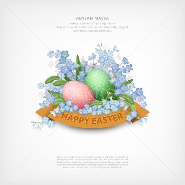 Buona pasqua carta vettore fiori di primavera uova felice Foto d'archivio © kostins