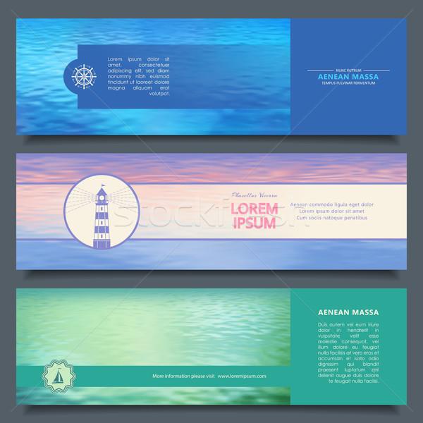 Vektör su afişler soyut deniz deniz Stok fotoğraf © kostins