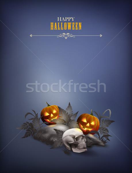 ハロウィン ベクトル 夜景 頭蓋骨 カボチャ 石 ストックフォト © kostins
