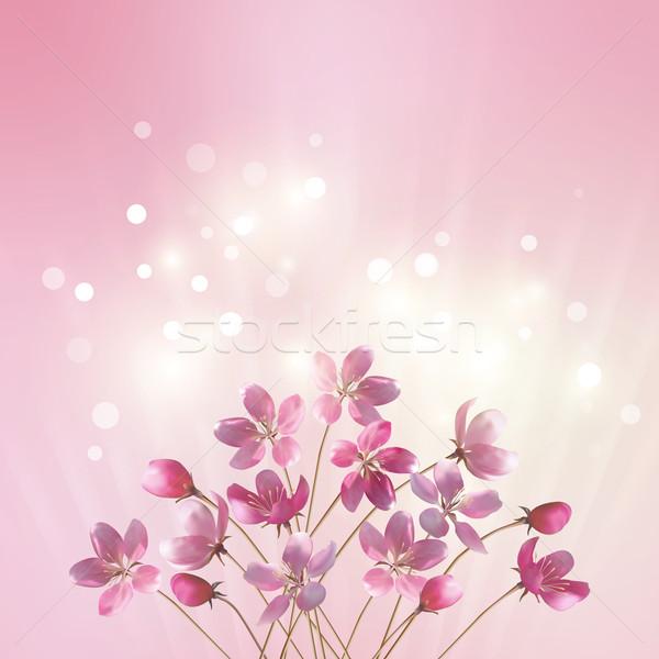 розовый цветы романтические вектора цветочный Сток-фото © kostins