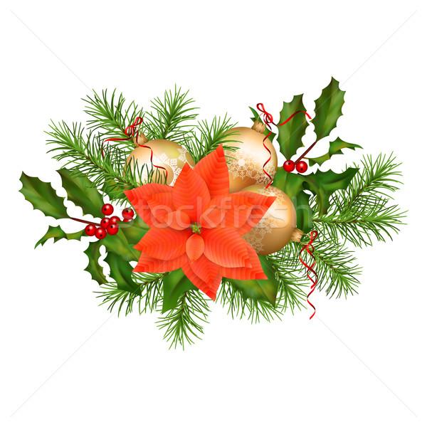 Foto d'archivio: Natale · vacanze · vettore · ghirlanda · decorazioni · bianco