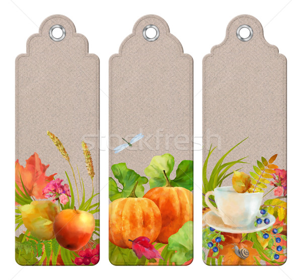 Watercolor Thanksgiving Bookmark Stock photo © kostins