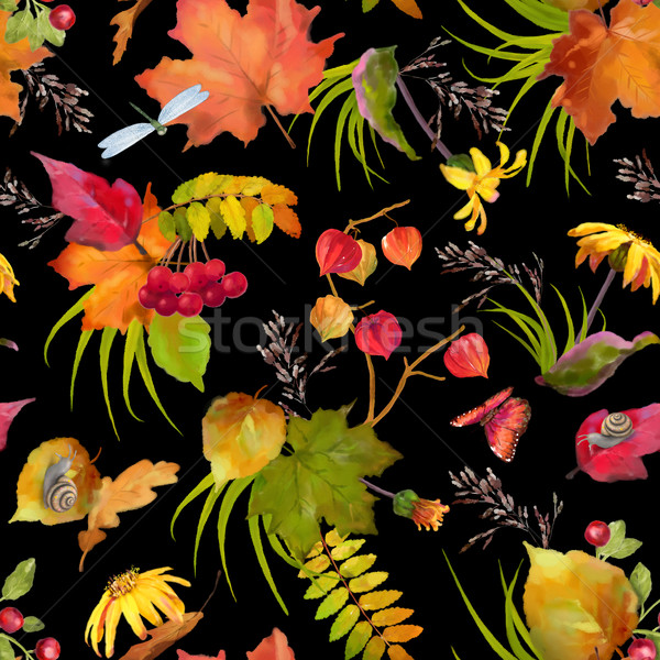 Watercolor Autumn Pattern Stock photo © kostins