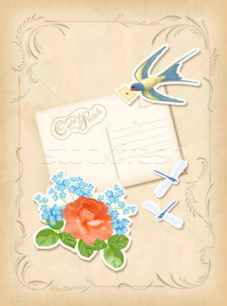 ヴィンテージ スクラップブック レトロな カード 愛 ストックフォト © kostins
