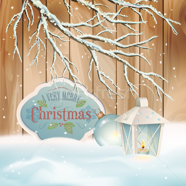 Vector Vintage Christmas Branch Lantern Background Stock photo © kostins