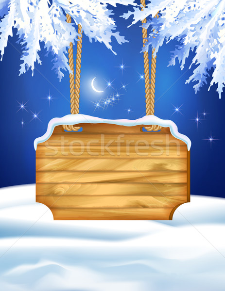 Winter Night Landscape Wooden Board Stock photo © kostins