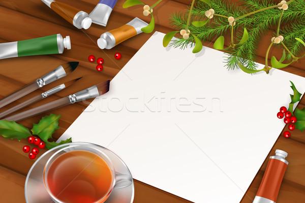 Vektör Noel levha kâğıt ağaç Stok fotoğraf © kostins