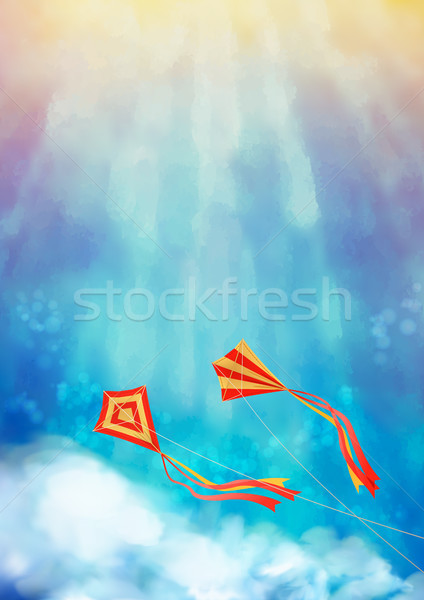 Mavi gökyüzü uçurtma uçan beyaz bulutlar gündoğumu Stok fotoğraf © kostins